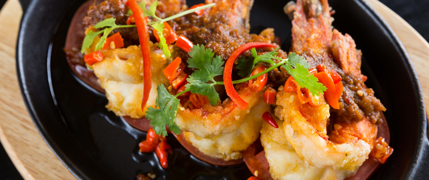 jumbo prawns in garlic and chili sauce